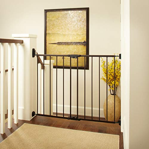 'Easy Swing & Lock Gate' by North States: Ideal for standard or wider stairways, swings to self-lock. Hardware mount. Fits openings 28.68' to 47.85' wide (31' tall, Bronze)
