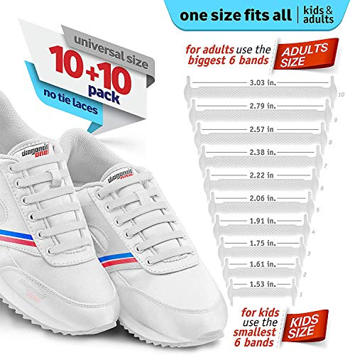 2c7455457332f DIAGONAL ONE No Tie Shoelaces for Kids and Adults - Elastic Silicone Shoe  Laces to Replace Your Shoe Strings. 20 Slip On Tieless Flat Silicon  Sneakers ...