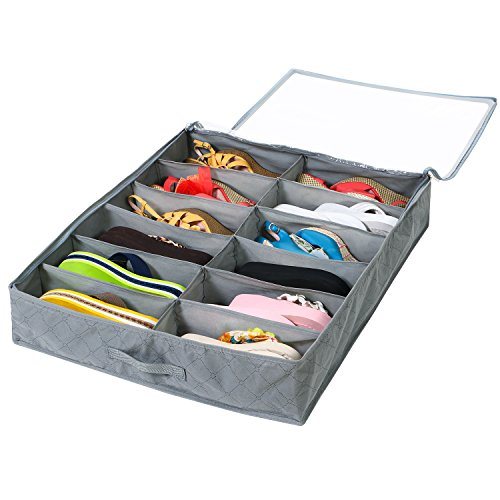 Lifewit 12 Pairs Under Bed Shoe Organizer Closet Storage Solution Organizer Box with Front Zippered Closure, Grey (Shoe Box Note)