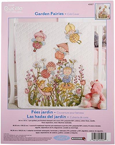 Bucilla Stamped Cross Stitch Crib Cover  Kit, 34 by 43-Inch, 45927 Garden Fairies