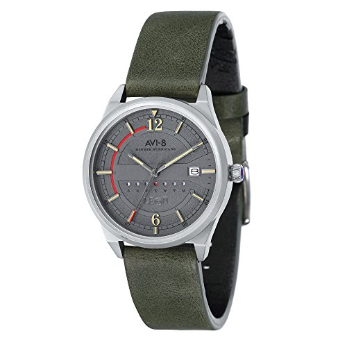AVI-8 Men's AV-4044 Hawker Hurricane Stainless Steel Japanese Quartz Leather Watch (Grey/Green)