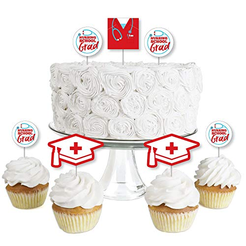 Nurse Graduation - Dessert Cupcake Toppers - Medical Nursing Graduation Party Clear Treat Picks - Set of 24 ()