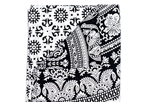 Black and White- Wall Hanging Tapestry- Mandala Design Bohemian Pattern for Walls and Furniture-Perfect for Dorm and Home-Indian Elephant Accent-Hippie Floral Touch-Beautify Your Home (Sunset Quilt Pattern)
