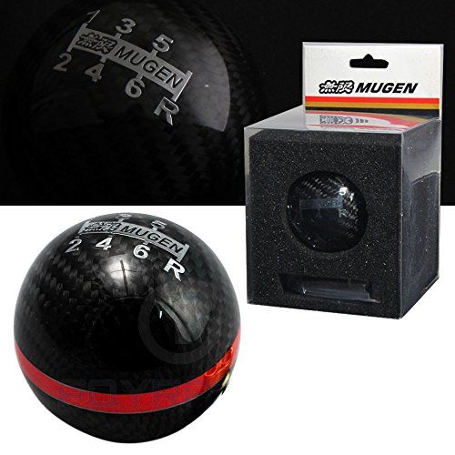 Honda / Acura Mugen Carbon Fiber 6 Speed Shift Knob with Red Stripe - Mugen Gear Knob