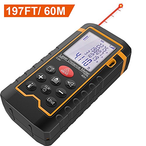 DBPOWER Digital Laser Measure 197FT/ 60M , Laser Distance Meter with Backlit LCD Screen, Single-distance Measurement/ Continuous Measurement/ Area/ Pythagorean Modes