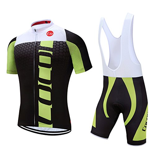 - Pro Team Summer Men's Cycling Jersey Set Bib Shorts with 3D Padded Cycling Kits (Chest 38-40 Waist 30-32''- Medium, Black&Green)