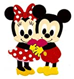 Cutie Mickey Minnie Mouse holding heart Valentine