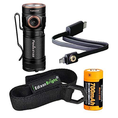 Fenix E18R 750 Lumen CREE LED USB rechargeable EDC/keychain Flashlight EdisonBright brand holster ()