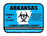 Arkansas Zombie Hunting Hunt Permit funny vinyl decals bumper stickers