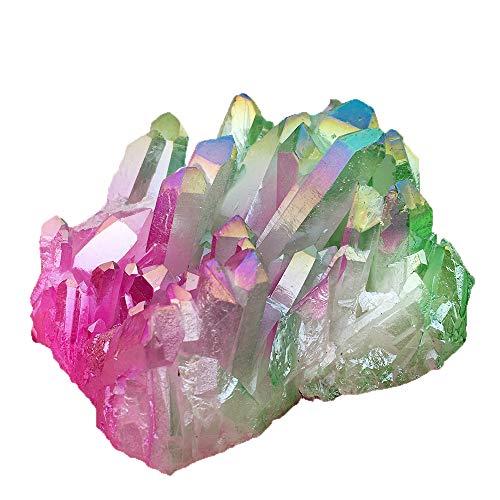 2' Pink Crystal - DingSheng Aura Bismuth Titanium Coated Quartz Crystal Clusters Rock Quartz Cluster Geode Druzy Healing Crystal Home Decoration Specimen (Titanium Quartz-Pink&Green)