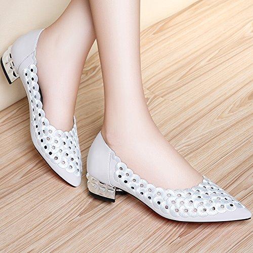 KHSKX-Zapato De Mujer Con Resorte Único Bajo La Cabeza Y Las Mujeres Zapatos De Tacon Bajo Cuatro Estaciones De Trabajo Ingles Viento white