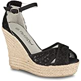 Twisted Women's Kenzie Canvas Floral Espadrille Wedge Strappy Sandal