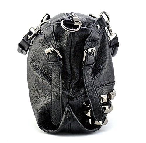 Mn&Sue Modern Punk Pu Leather Cross Body Silvery Rivet Studded Shoulder Nightclub Hobo Handbag for Lady by Mn&Sue (Image #3)