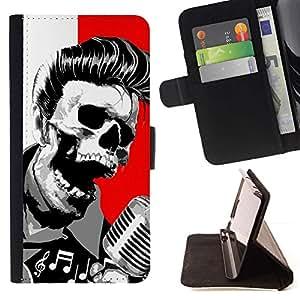 Momo Phone Case / Flip Funda de Cuero Case Cover - Elvis cráneo Muerte Roca Rodillo Rojo Blanco - Samsung Galaxy S5 Mini, SM-G800