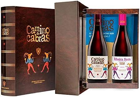 CAMINO DE CABRAS Estuche de vino – Mencía Crianza D.O. Valdeorras + Mencía D.O. Ribeira Sacra - Vino tinto –Producto Gourmet - Vino para regalar - Vino Premium - 2 botellas x 750 ml.