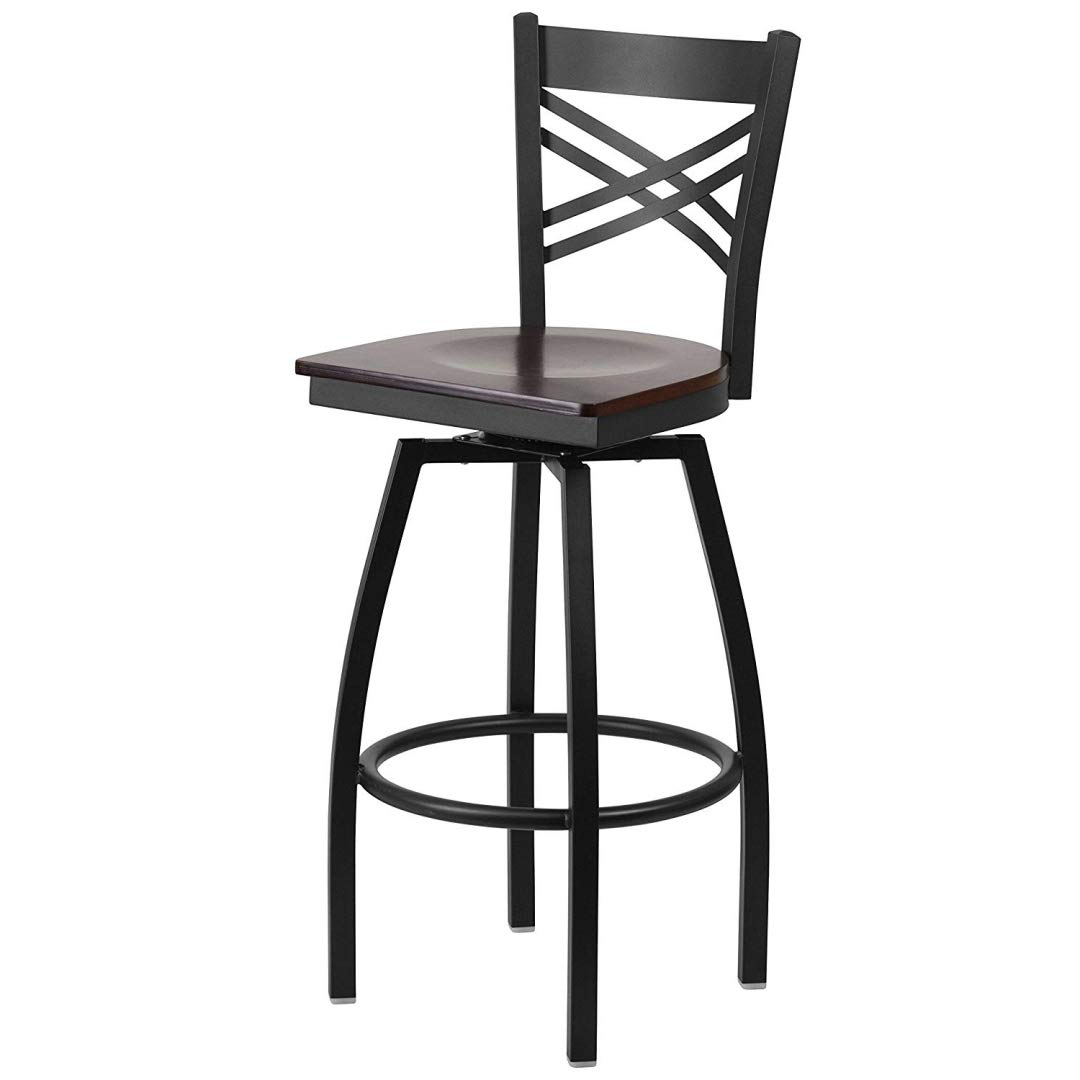 Modern Style Metal Dining Bar Stools Cross-Back Design 360-Degree Swivel Seat Lounge Diner Restaurant Commercial Black Powder Coated Frame Finish Home Office Furniture - (1) Walnut Wood Seat #2199