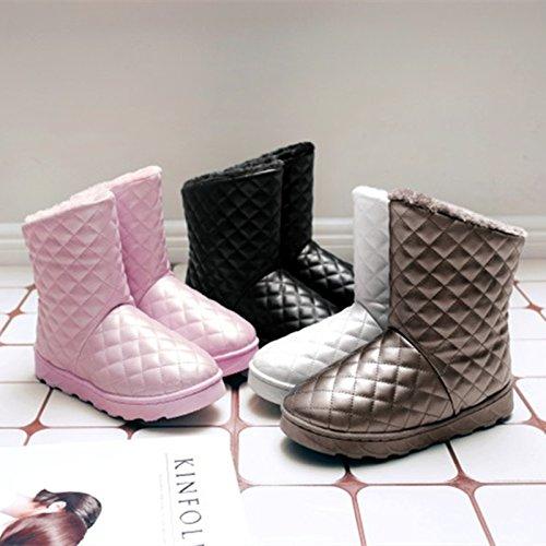 Y-Hui Nieve del invierno Botas de cuero Tubo corto femenino estudiantes All-Match plana cálida nieve zapatos Slip de algodón,39 códigos más pequeños,plateado