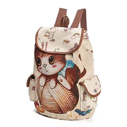 Shopping B Travel Bag Canvas Fashion Print Backpack WYXlink Backpack Cat Bag Drawstring Style Animal Women FzgfqR