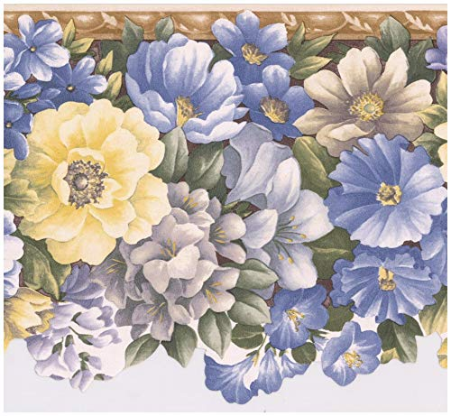 Wall Border - Blue Yellow Grey Morning Glory Flowers Scalloped Floral Wallpaper Border Retro Design, Prepasted Roll 15 ft. x 8.5 in.