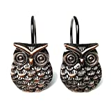 Owl Shower Curtain VCO Connections 12Pcs Shower Curtain Hooks Owl Design Shower Curtain Hangers Anti-Rust Stainless Steel Owl Decor Shower Curtain Hooks Hangers Pothooks for Bathroom