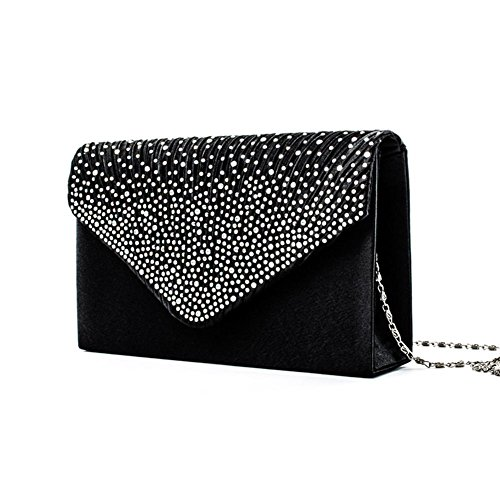 Handbag Envelope Nero Women's Bag Bag Rhinestone Wedding Party Clutch PROKTH Evening Satin studded Wedding ATZcvvqW