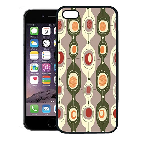 Semtomn Phone Case for iPhone 8 Plus case,Mid Vintage Pattern Century Modern 70S 60S 1950S iPhone 7 Plus case Cover,Black ()