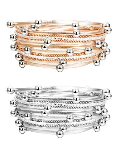 Silver Bead Set - Finrezio 2 PCS Silver&Rose Gold Tone Leather Cuff Bracelets Women Girls Fashion Bead Charm Bracelet Set