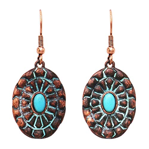 Rosemarie Collections Women's Southwestern Copper Patina Concho Style Turquoise Howlite Stone Dangle Drop Statement Earrings