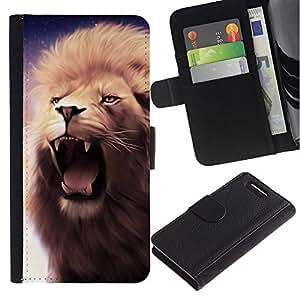 KingStore / Leather Etui en cuir / Sony Xperia Z1 Compact D5503 / Rugido del león Colmillos Dientes Mane púrpura Bostezo