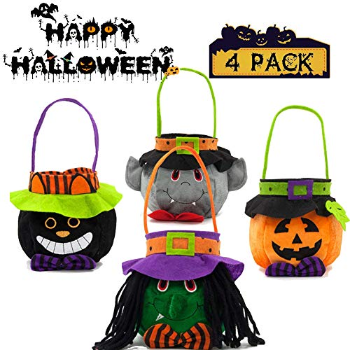 Bonaweite 4 Pack Halloween Candy Bags Trick or Treat Candy Goodie Tote Handbag Pumpkin Bag for Children Kids Costume Themed Party Gift -