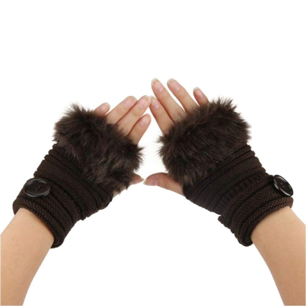 Winter Faux Rabbit Fur Gloves Hand Warmer for Ladies Fingerless Knitted Wool Gloves Texting Gloves Mittens