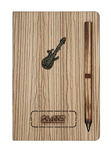 Natural Wood Series Natural - Wooden Notebook with Attached Pen - Natural Wood Series | Unique Wood-Covered Notebook & Pen Set with Bronze Crests | No Line, White/Brown Pages with Designs (Guitar)