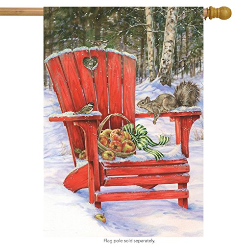 Winter Gathering House Flag Adirondack Chair Apples 28