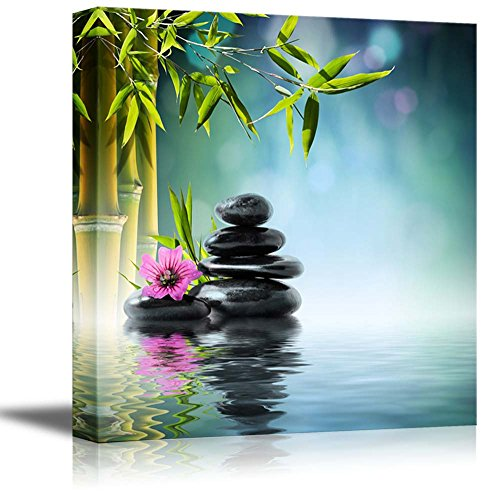 Wall26   Canvas Prints Wall Art   Zen Stone And Hibiscus With Bamboo On The  Water Spa Concept | Home Decoration Stretched Gallery Canvas Wrap Giclee  Print ...