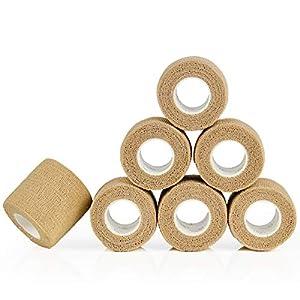 YUMAI Vendaje Elástico adherente Wrap Cinta 5cm, Self Adhering Stick de compresión para Vendaje una Herida Tobillo Apoyo… 6