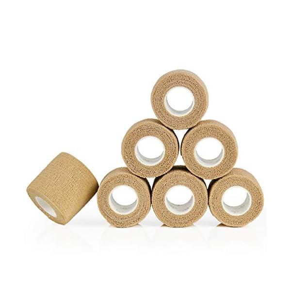YUMAI vendaje cohesivo de primeros auxilios cinta autoadhesiva 5CM Paquete de 6, Paquete de 12 aprobado por la FDA… 2