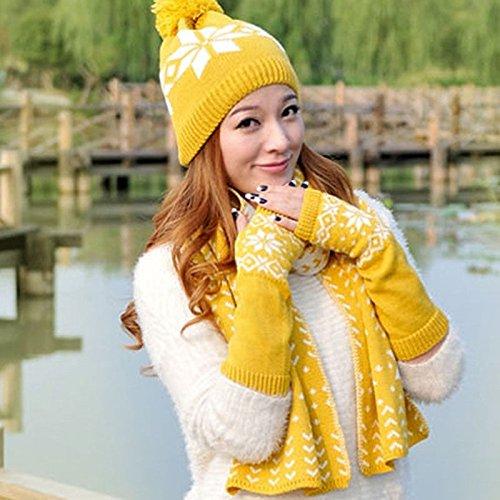 Skaw Doly冬暖かいレディースファッションニットスカーフ帽子手袋セットかぎ針編みビーニーキャップ B01M4QP7VP イエロー イエロー