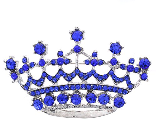Princess Crown Pin (SoulBreezeCollection Princess Crown Tiara Brooch Pin Wedding Bridesmaid Clear Rhinestones Jewelry (Royal Blue))
