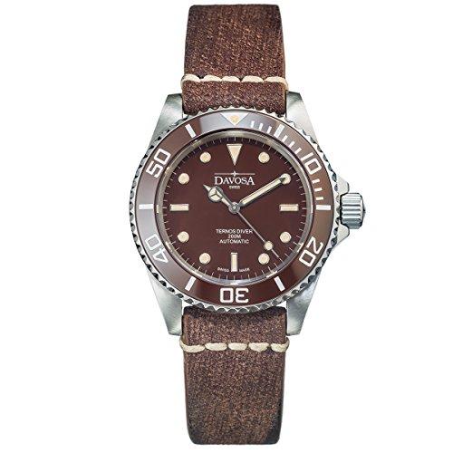 Davosa Swiss Ternos Vintage 16155585 Diver Men Wrist Watch Brown Genuine Leather