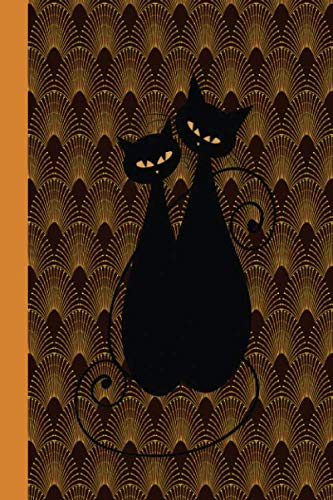 Sketch Journal: Art Deco Cats (Orange Pattern) 6x9 - Pages are LINED ON THE BOTTOM THIRD with blank space on top -