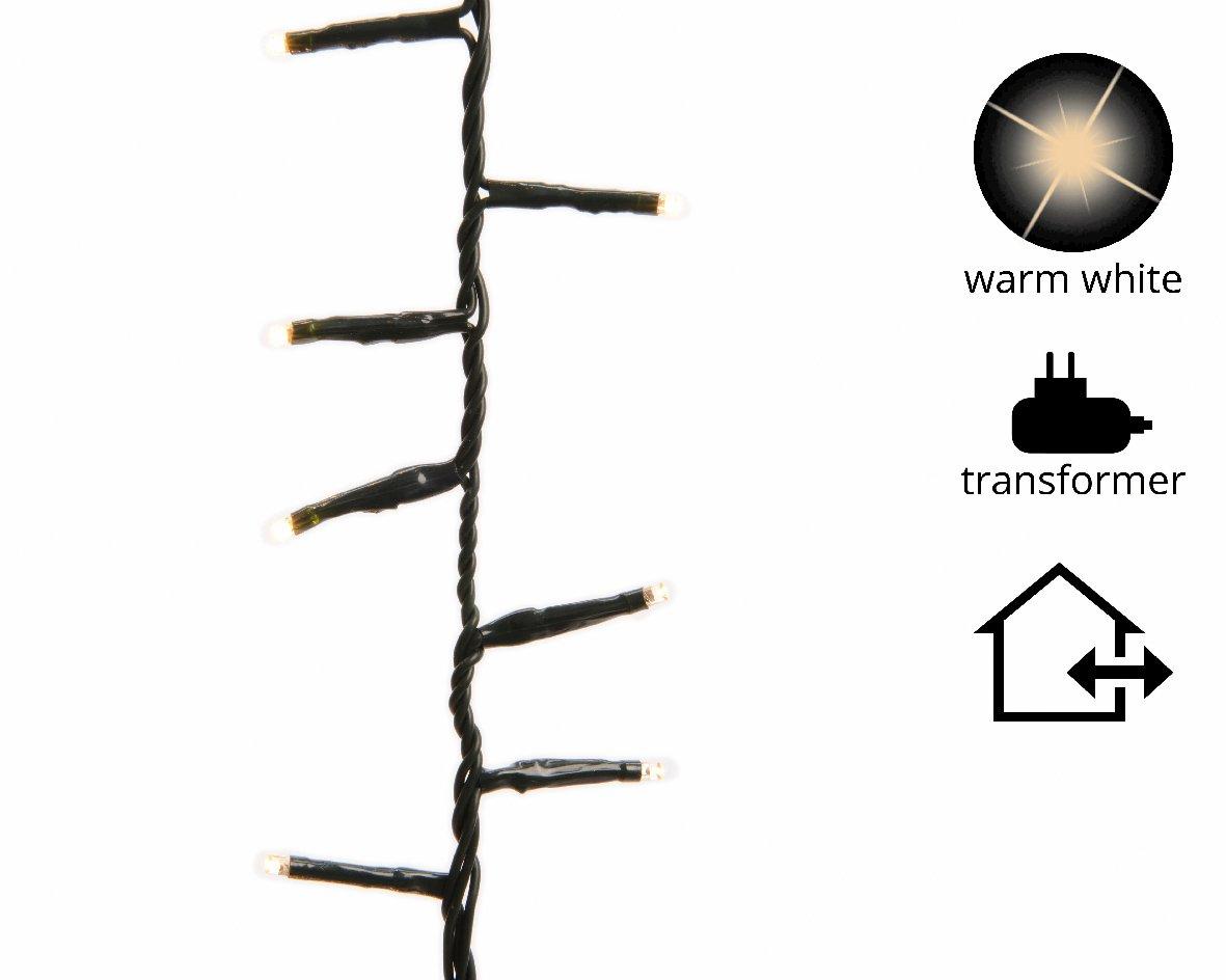 Kaemingk catena luminosa LED 350-500-750-1000-1500 bianco caldo cavo verde o trasparente 7.5-34 Metri - 350 LED, trasparente LUMINEO