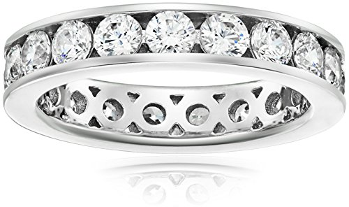 - Platinum-Plated Sterling Silver Swarovski Zirconia Channel Set All-Around Band Ring (3 cttw), Size 9
