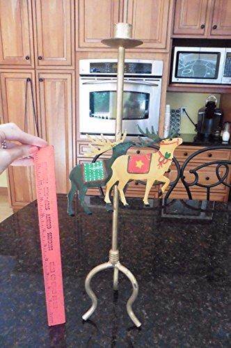 Christmas Metal Reindeer Candle Holder candlestick hand painted elk buck moose