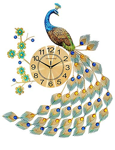 (Bidesen Home Deco European Style Peacock Wall Clock Crystal Luxury Living Room Clock Creative Personality Modern Art Decorative Clock Mute Wall Watch Quartz Clock Large Size (Color : A))