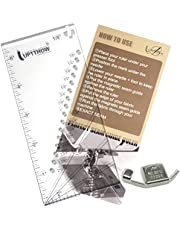 """UPTTHOW Seam Allowance Ruler for Sewing Machine Trim Straight Line Hems 1/8"""" to 2"""", Perforated Seam Gauge with 15,30,45 Degree Line Indicators for Handmade Measuring Guide"""