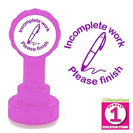 22mm Quality Reinkable Xclamations Self-inking Stamp Pink Please finish Teacher Stamp Incomplete work