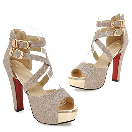 Sandals Women TAOFFEN Gold Fashion Heel High Party BFRnqC8R