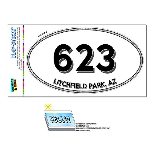 Graphics and More Area Code Oval Window Laminated Sticker 623 Arizona AZ Arlington - Youngtown - Litchfield - Of Arlington Parks