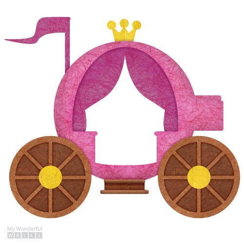 MyWonderfulWalls Royal Carriage Wall Decal Sticker, Right-Facing, Pink/Gold/Brown