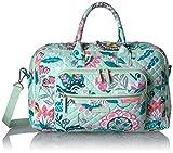 Vera Bradley Iconic Compact Weekender Travel Bag, Signature Cotton, Mint Flowers